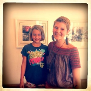 Elisabeth with a student at her recent art show