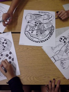 Doodle hand portraits using a variety of textures and self-descriptive words. Sharpie, pencil, marker. 7th grade.