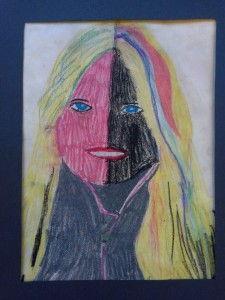 Contour line tracing of portrait photos. Pencil shading. Oil pastel. 5th grade.